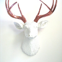 Faux Taxidermy Deer Head Wall Mount Wall Hanging Wall Decor Home Decor in white and bronze antlers: Deerman the Deer Head