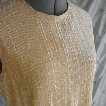 ON SALE XL // 60s Dress // Vintage 1960s Gold Lame' Party Dress with Rhinestone Buttons by Toni Todd Size Xl 35 waist