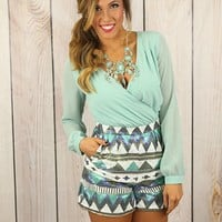 Tres Chic Tribal Rompers in Mint