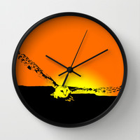 Flying Barn Owl at Sunset  Wall Clock by Karl Wilson Photography