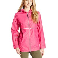 Charles River Apparel Women's New Englander Waterproof Rain Jacket, Hot Pink Reflective, Small