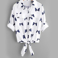Bow Print Rolled Sleeve Knotted Shirt White Lapel Equipment Blouse Women Button Print Blouse