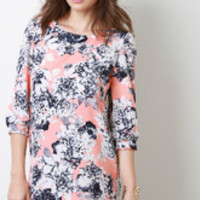 Women's Floral Long Sleeve Shift Dress - Size S