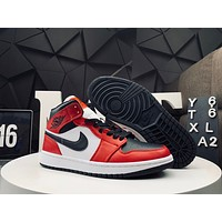 Bunchsun Air Jordan 1 Mid AJ1 Simple Colorblock Men's and Women's High-Top Basketball Shoes
