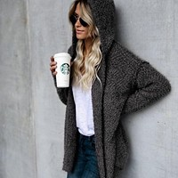 Laamei Solid Cardigan Women With Hooded Winter Sweater Female 2018 Casual Street Autumn Chaqueta Cardigans High Quality