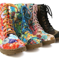 Women Ladies Laced Up Military Style Combat Print Ankle Boots Shoes NEW