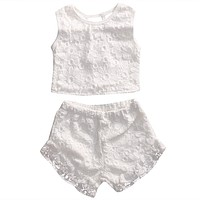 Kid Baby Girl Clothes White Lace Toddler Kids Girls Floral Crochet Tops Shorts Outfits Set Clothes