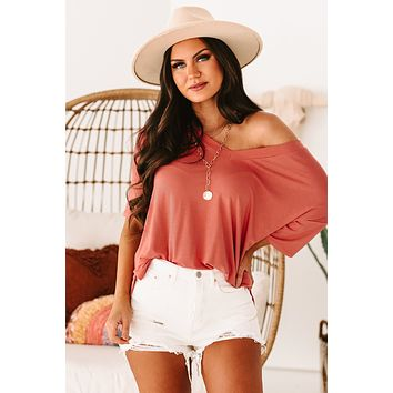 Casual Friday V-Neck Top (Faded Coral)
