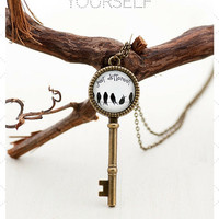 Just Be Different Bird Key Charm Pendant Necklace - Women Sister Graduation Teen Gift for Her - Photo Meaningful Pendant Jewelry with Words
