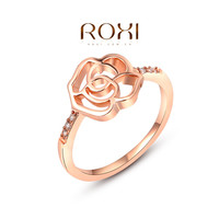ROXI New Fashion Jewelry Womens Rose Gold Color Flower Shape Crystal Zirconia Ring Womens Party Wedding Finger Rings Size 6 7 8