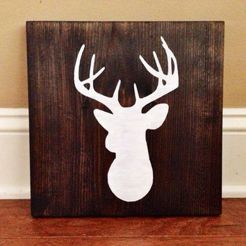 Deer Head Silhouette Wood Sign, Custom Deer Sign, Stained and Hand Painted, Choose Colors, Deer decor, Cabin decor, Hunting decor