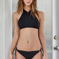 LA Hearts V-Neck Cropped Bikini Top - Womens Swimwear - Black
