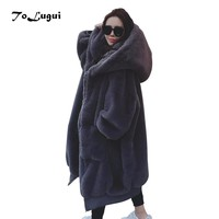 2018 Winter Faux Fur Coat Women Hooded Loose Big Size Fur Outerwear Hicken Warm Hairy Faux Fur Coat Women Long Coats