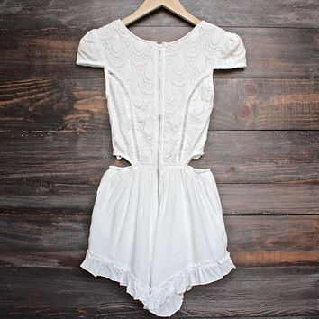 Thalia Crochet Cap Sleeve Short Romper in White