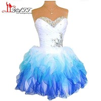 Hot Sale Cheap Short Prom Dresses 2017 Stock Sexy Sweetheart Corset Rhinestone Cocktail Party Gowns Mini Girl Party Dress ZY025