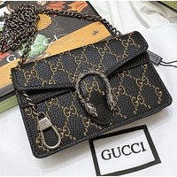 GUCCI Fashion New embroidery more letter leather chain shopping leisure shoulder bag women crossbody bag Black