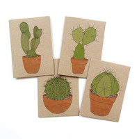 set of four cacti cards