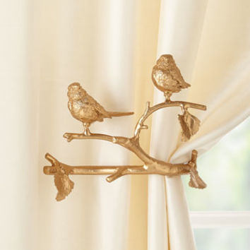 Janice Minor Export Feathered Friends Curtain Holdback, Set of Two
