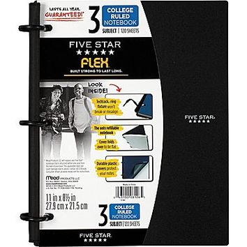 """Five Star Flex® Notebook, 3-Subject, College Ruled, Assorted, 8-1\/2\"""" x 11\"""" 