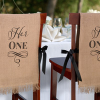 Her One, His Only Rustic Burlap Chair Covers for Wedding