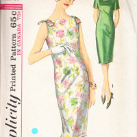 Vintage 60s Misses Sewing Pattern Dress Wiggle Skirt Sleeveless Bow Shoulder Accent Bust 34 Simplicity 5389