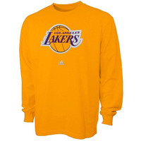 adidas Los Angeles Lakers Primary Logo Long Sleeve T-Shirt - Gold
