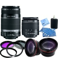 Dual Lens Kit: Canon EF-S 55-250mm f/4-5.6 IS II Lens & Canon EF-S 18-55mm f/3.5-5.6 IS II Autofocus Lens: Also Includes 2 UV Filters, Rotating Circular Polorizing Filter, FLD Filter, 0.45x Wide Angle Lens, 2x Telephoto Lens, Cleaning Kit & CS Microfiber C