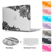 Fashion Lace Pattern Matte Cover Case Sleeve for Apple MacBook Pro 13 15 Retina 12 New Mac book Air 13 11 inch Christmas gift