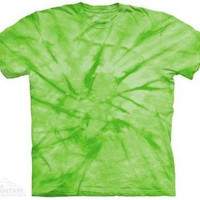 Spiral Green Solid Color Tie Dye T-Shirt