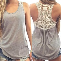 Women Summer Lace Vest Tops 2016 Fashion Sexy Backless Sleeveless Casual Blouse Tank Tops T-Shirt Beach Plus Size #3546