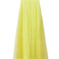 Yellow Spaghetti Strap Pleated Summer Dress