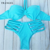 Sexy Push up Bikini Set Hollow out Beach Swimwear High Waist Swimsuit Women Vest Hang Neck Big Bow Vintage Bathing Suit 12