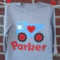 Boys Valentine's Day shirt, personalized shirt for baby boy or child with red heart truck and name / monogram