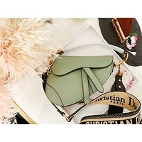 Dior Tide brand female models personality wild fashion one shoulder slung female bag saddle bag Green