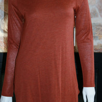 Long Sleeve Button & Cowl Back top