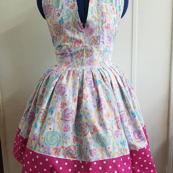 Gift - for - her - Lollipop - candy  - new - years - eve - dress - halter - pinup - rockabilly - rockabella - flirty - swing - style - dress