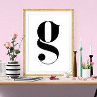LETTER G Scandinavian Design Poster, Nursery G Printable Wall Art, Nursery Poster, Wall Art Typography Design, Nordic Design