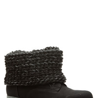 Black Faux Suede Knit Fold Over Lace Up Boots