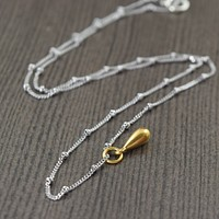 Vermeil Teardrop pendant necklace on sterling silver chain