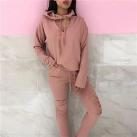 Stylish Casual Set Autumn Women's Fashion Hats Ripped Holes V-neck Long Sleeve Sportswear Set [11930227663]
