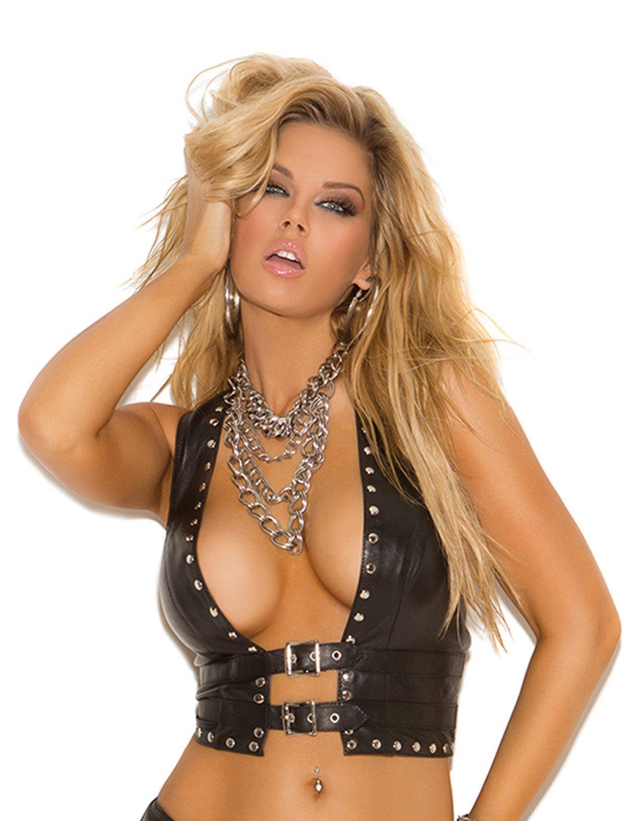 Image of Studded Leather Open Front Vest