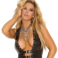 Studded Leather Open Front Vest