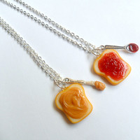Peanut Butter Jelly Necklace Set, Strawberry Jelly, Best Friend's BFF Necklace, Cute :D