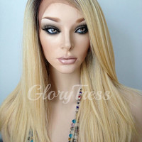 ON SALE // Long & Straight Lace Front Wig, 100% Human Hair Blend Wig, Ombre Platinum Blonde Wig, Layered Wig  // FLAWLESS (Free Shipping)
