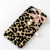 Bling Diamond White Pearl Bow Bowknot Gold Leopard Hard Case Cover For Apple iPhone 5
