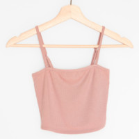 Ribbed Knit Cami Crop Top - Dusty Pink