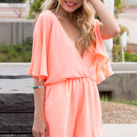 Endless Summer Romper- Neon Coral