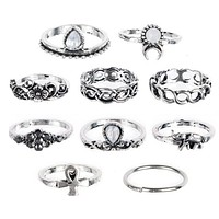 10PC Flowers Moon Band Alloy Rings Set