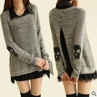 spring skull applique twinset sweater for women chiffon one-piece dress punk pullover women's sweater (Size L Color Grey) = 1958368132
