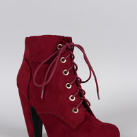 Bamboo Suede Cuffed Collar Lace Up Bootie